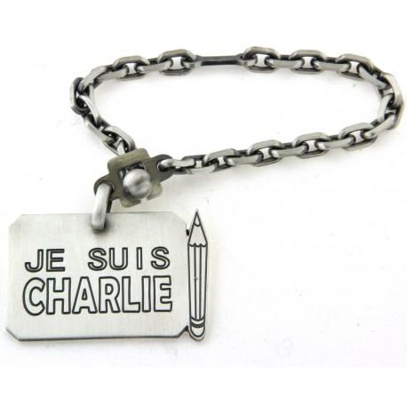 """Porte clés argent """"Je suis Charlie"""""""