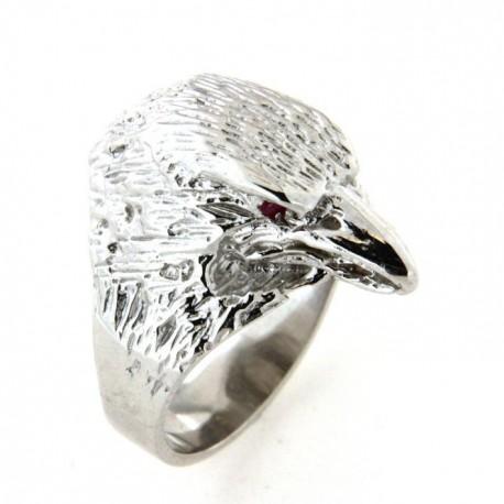Chevalière argent tête d'aigle avec pierres rouges