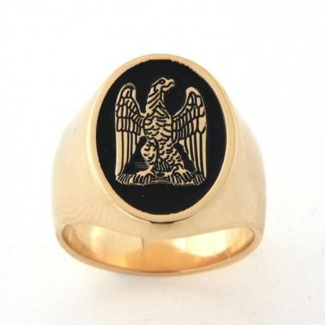 Chevalière plaqué or avec blason aigle