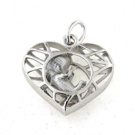 Pendentif coeur argent  foetus
