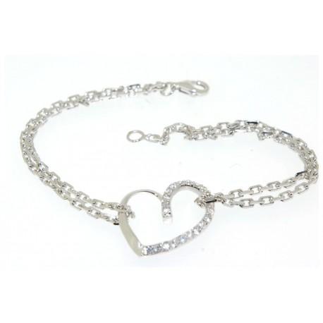 Bracelet argent motif coeur oxydes