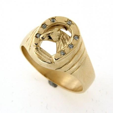 Chevalière plaqué or fer à cheval avec oxydes