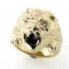 Chevalière lion plaqué or avec oxydes