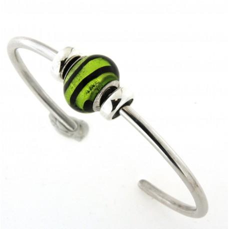 Bracelet argent rigide boule verre de murano