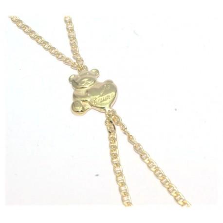 Bracelet de doigt plaqué or motif ours+coeur
