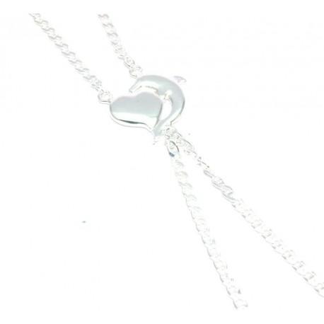 Bracelet de doigt argent motif dauphin + coeur
