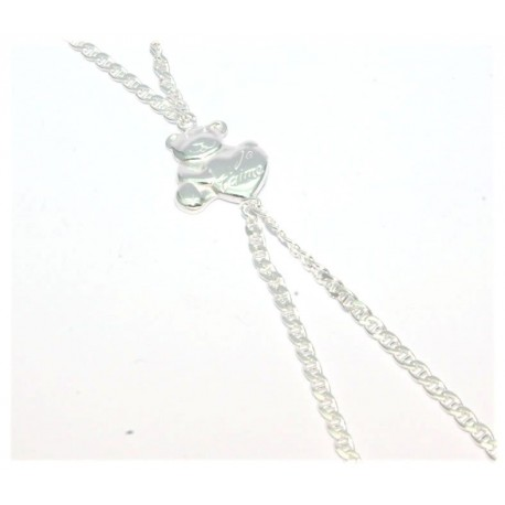 Bracelet de doigt argent motif ours+coeur