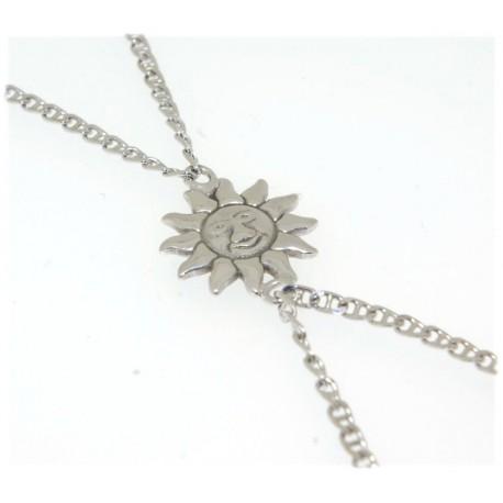 Bracelet doigt argent motif soleil