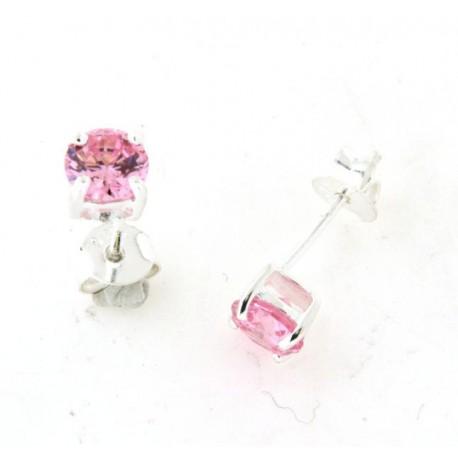 Boucles d'oreilles argent oxydes roses