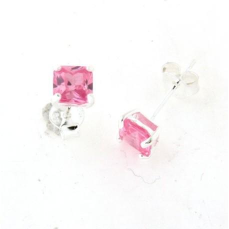 Boucles d'oreilles argent oxydes carrées roses