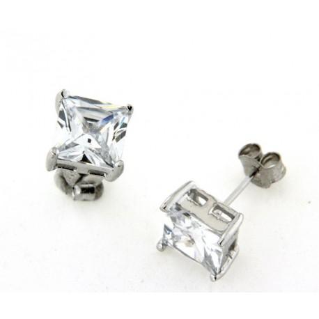 Boucles d'oreilles argent oxydes carré