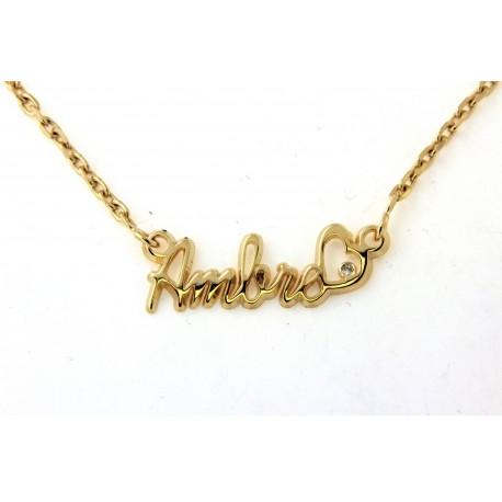 Collier prénom plaqué or avec coeur