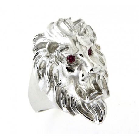 Chevalière lion argent avec rubis