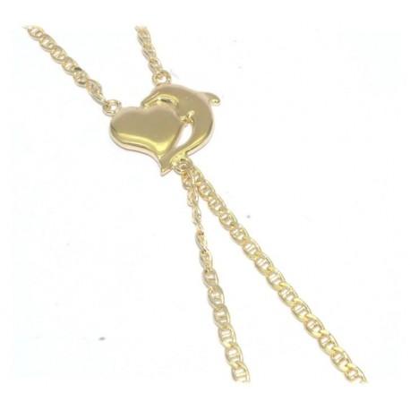 Bracelet de doigt plaqué or motif dauphin+coeur
