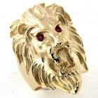 Chevalière lion plaqué or avec rubis