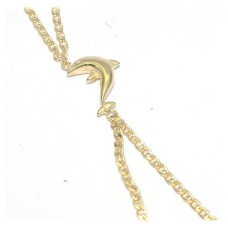 Bracelet de doigt plaqué or motif dauphin