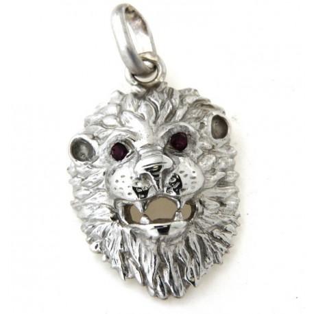 Pendentif lion argent avec rubis