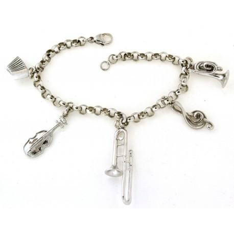 Bracelet argent breloques instruments de musique