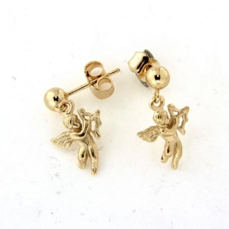 Boucles d'oreilles plaqué or pendantes ange