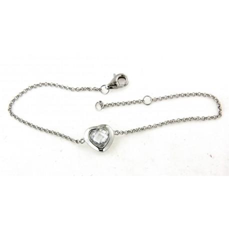 Bracelet argent avec coeur oxyde