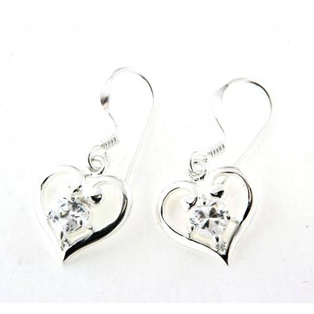 Boucles d'oreilles argent pendantes coeur oxyde