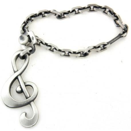 Porte clés argent note de musique