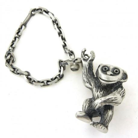 Porte clés singe en argent massif