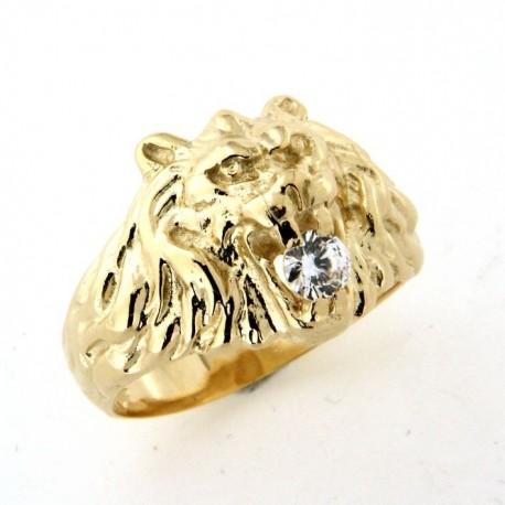 Chevalière lion plaqué or avec oxyde