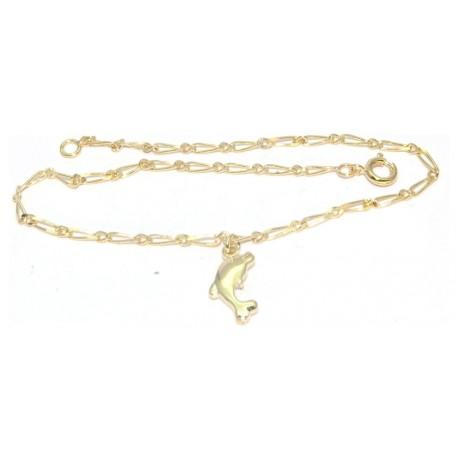 Chaîne cheville plaqué or motif dauphin