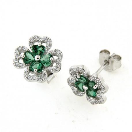 Boucles d'oreilles argent avec pierre verte et oxydes
