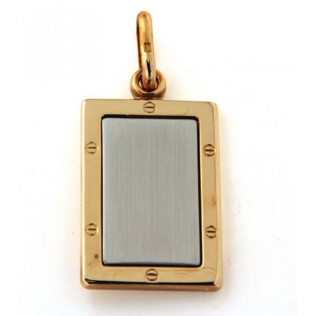 Pendentif plaqué or et acier