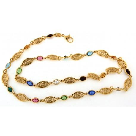 Collier plaqué or pierres multicolores