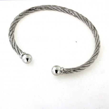 Bracelet argent massif façon câble rigide