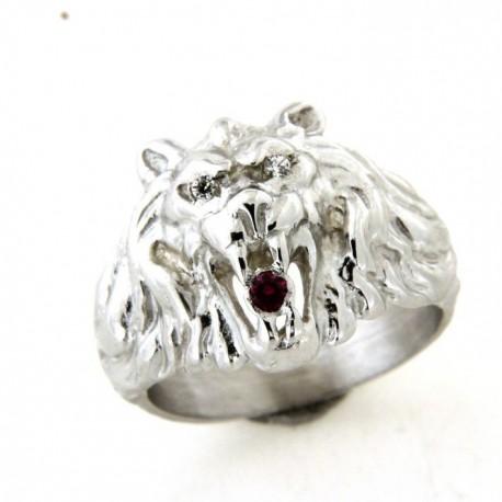 Chevalière argent lion avec rubis synthétique et oxydes