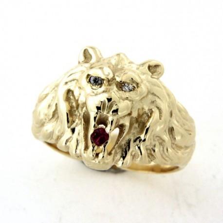 Chevalière lion plaqué or avec rubis synthètique et oxyde