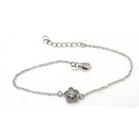 Bracelet argent fleur avec oxydes