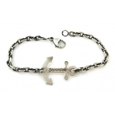 Bracelet argent ancre marine avec prénom