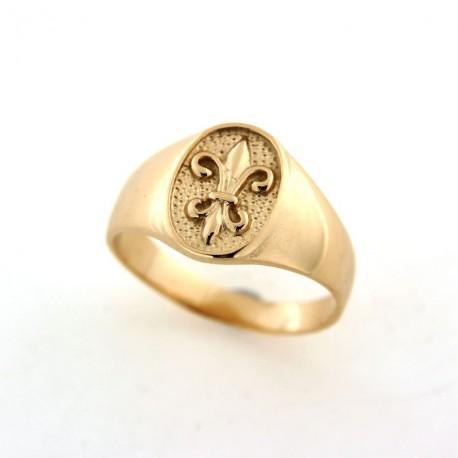 Chevalière plaqué or motif fleur de lys