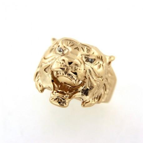 Chevalière plaqué or tête de lion avec oxydes