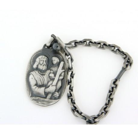 Porte clés argent angent vieilli saint christophe