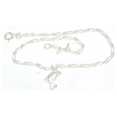Chaîne cheville argent motif dauphin