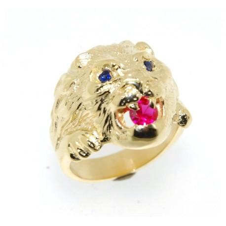 Chevalière plaqué or lion rubis et saphir synthètique