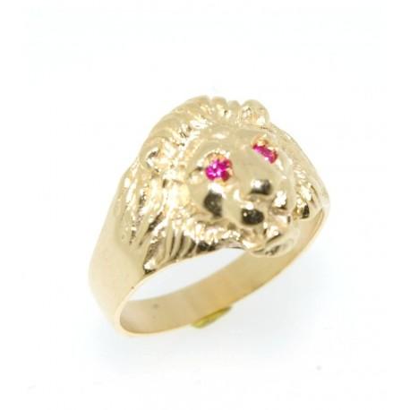 Chevalière plaqué or lion rubis synthètique