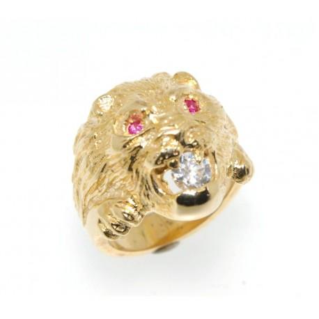 Chevalière plaqué or lion avec oxyde et  rubis synthètique