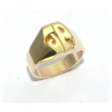 Chevalière plaqué or avec deux initiales découpées