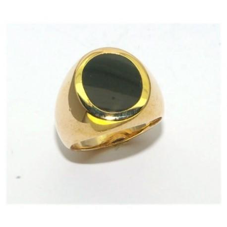Chevalière plaqué or ovale onyx