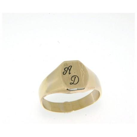 Chevalière plaqué or avec deux initiales gravées