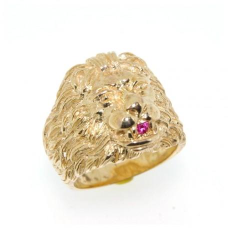 Chevalière lion plaqué or avec rubis synthètique