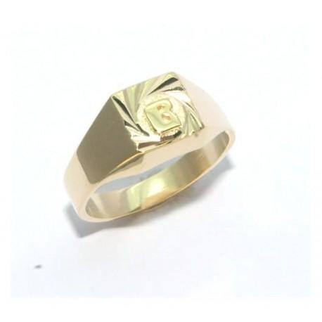 Chevalière plaqué or lapidée avec une initiale soudé