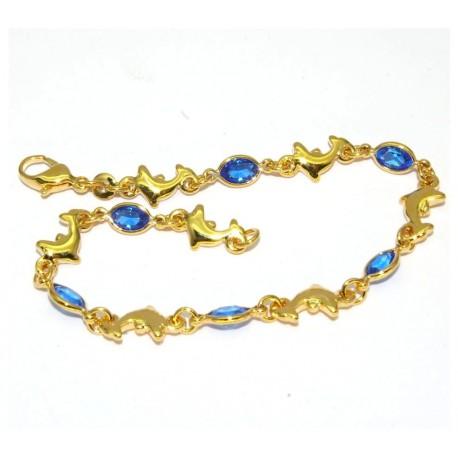 Bracelet plaqué or pierres bleues et dauphins